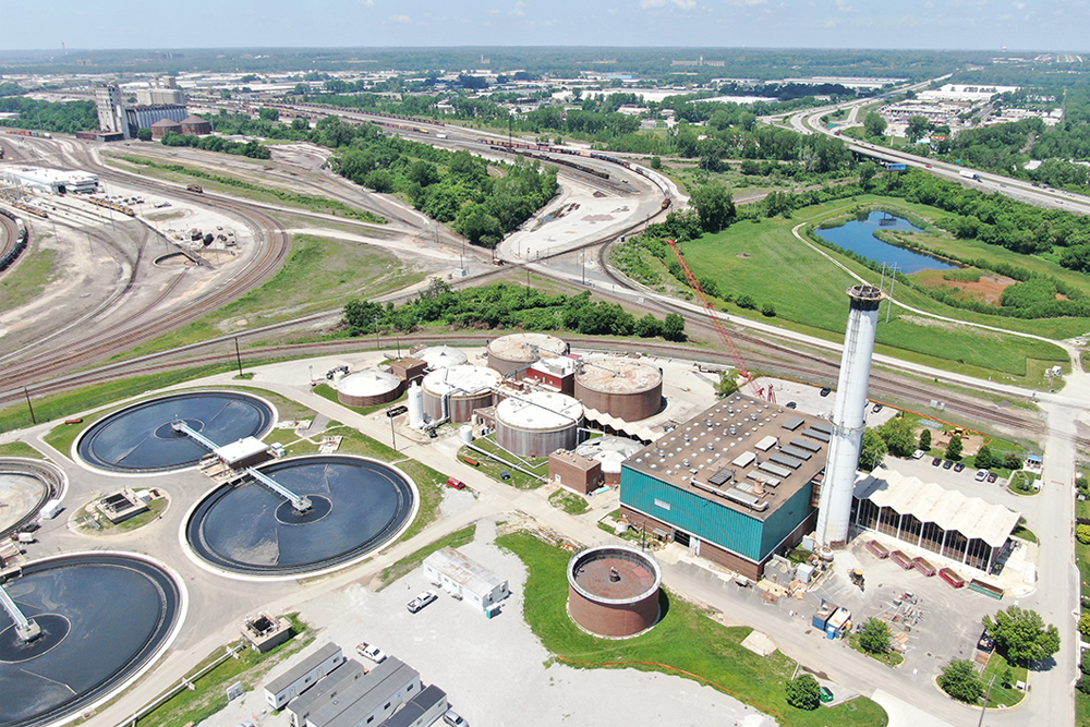 Aerial of the Blue River Wastewater Treatment Plant, soon to be Blue River Biosolids Facility